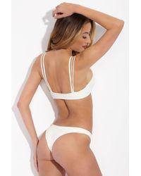 Mikoh Swimwear Lahaina Low Rise Brazilian Bikini Bottom - White