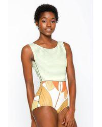 Seea Lido Colour Block High Neck Scoop Tank One Piece Swimsuit - Green & White Stripe Print/bell Flower Print