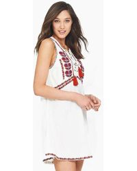 Tigerlily Sedona Embroidered High Neck Mini Dress - White
