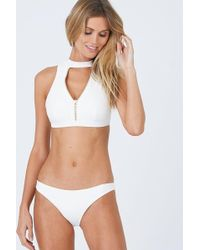 Beach Bunny Zoey High Neck Zipper Front Bikini Top - White