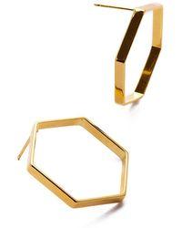 Eklexic - Gold Hexagon Shaped Earrings - Lyst