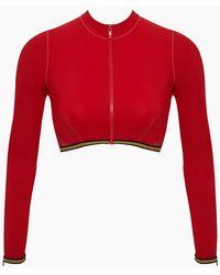 Stella McCartney Long Sleeve Mesh Cropped Rashguard Bikini Top - Red