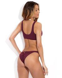 Beach Bunny Ribbed Cheeky Ruched Bikini Bottom - Plum Purple