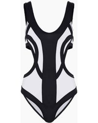 OYE Swimwear Rorschach Colorblock Side Cut Out One Piece Swimsuit - White & Black