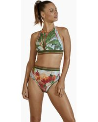 Agua de Coco High Neck Bikini Top - Green