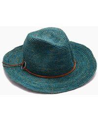 Hat Attack Raffia Crochet Rancher Hat - Turquoise - Blue