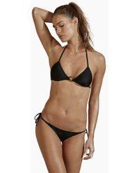 Agua de Coco Triangle Center Ring Bikini Top - Black