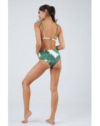 Beach Riot Harbor Lace Up High Waist Bikini Bottom - Tropical Palm Print - Multicolour