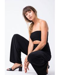 Norma Kamali Strapless Cut Out Jumpsuit - Black
