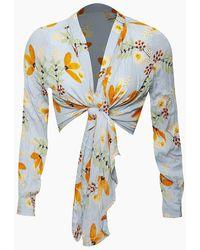 Patrons Of Peace Short Tie Front Kimono - Blue