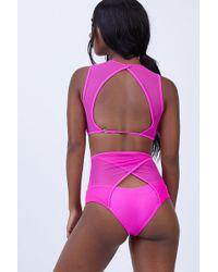 Keva J - Caiman High Waist Mesh Bikini Bottom - Fuschia - Lyst