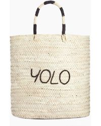 Poolside Large Rectangular Straw Tote - Yolo - Natural