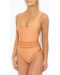 Ellejay Bella High Cut Cheeky One Piece Swimsuit - Orange