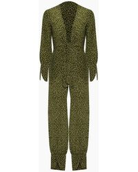 Adriana Degreas Silk Crepe De Chine Jumpsuit - Green