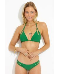 Luli Fama Zig Zag Reversible Knotted Cut Out Triangle Bikini Top - Green