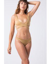 Indah Tenille Banded Brazilian Bikini Bottom - Metallic