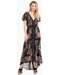 Patrons Of Peace Maxi Ruffle Sleeve Dress - Black