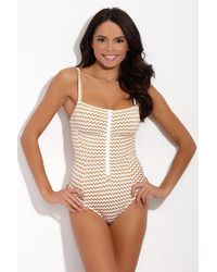 Lonely - Jamie Square Neck Zipper Front One Piece Swimsuit - Gold & White Gingham Print - Lyst