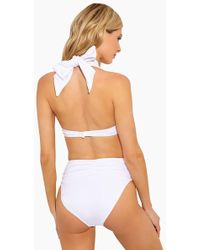 10 Crosby Derek Lam Knot Front High Waisted Bikini Bottom - White