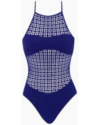 Evarae - Iola Cross-back Laser-cut One Piece Swimsuit - Blue Matte - Lyst