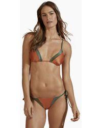 Agua de Coco Tie Side Colour Block Bikini Bottom - Rust Orange/olive Green