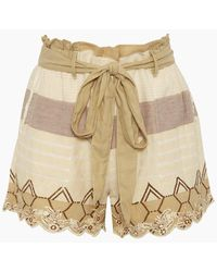 Hemant & Nandita Bow Front Cotton Gauze Shorts - Mana Beige - Natural