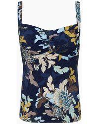 Jets by Jessika Allen Dd_e Banded Tankini Bikini Top - Ink Floral Print - Blue