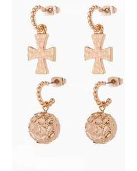 Luv Aj The Hammered Cross + Ball Hoop Earrings (set Of 4) - Rose Gold - Metallic