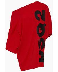 DSquared² Logo Asymmetric Short Kaftan - Red