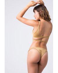 Indah Tenille Banded Brazilian Bikini Bottom - Cairo Gold - Metallic