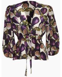 Adriana Degreas Fig-print Silk Crepe De Chine Blouse - Purple
