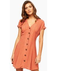 MINKPINK Kindred Button Front Dress - Red/white Polka Dots