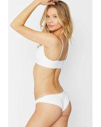 Frankie's Bikinis Greer Ribbed Cheeky Bikini Bottom - White