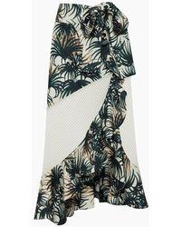 PATBO Wrap Midi Skirt - Ivory & Green Palm Print