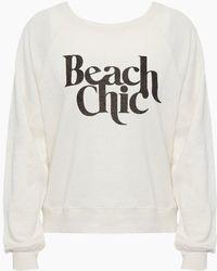Amuse Society Beach Chic Pullover Sweatshirt - Vintage White