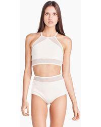Triya Mari Mesh High Neck Crop Bikini Top - White
