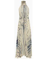 Hemant & Nandita High Neck Lurex Long Dress - Blue