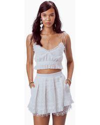 For Love & Lemons Charlotte Eyelet Mini Skirt - White Heart