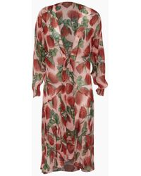 Adriana Degreas - Silk Muslin Long Robe Cover-up - Fiore Rose Print - Lyst