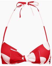 Moschino Halter Push Up Bikini Top - Red