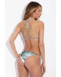 Mikoh Swimwear Lanai Low Rise Cheeky Bikini Bottom - Botanical Forest Green Print