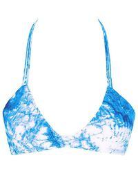 Mikoh Swimwear Namotu Stringy Halter Bikini Top - Blue