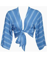 Blue Life - Wrap Cropped Top - Bluebell Boho Stripes Print - Lyst