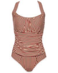 Marlies Dekkers - Holi Vintage Unwired Padded One Piece Swimsuit (curves) - Red Ecru - Lyst