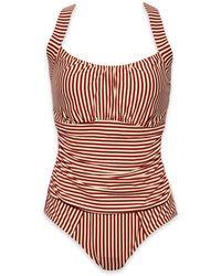 Marlies Dekkers Holi Vintage Underwire Padded One Piece Swimsuit - Red Ecru