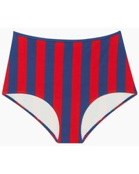 Solid & Striped The Brigitte High Waisted Bikini Bottom - Red