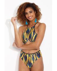 Andrea Iyamah Touca Underwire High Neck Bikini Top - Blue