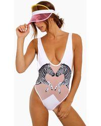 Lee + Lani Zebra Mesh Plunge High Cut One Piece Swimsuit - Pink