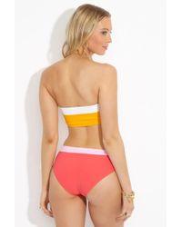 Flagpole Swim - Lori Color Block Moderate Bikini Bottom- Strawberry/rose - Lyst