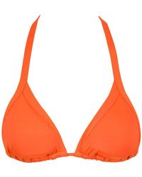 Seafolly Goddess Slide Halter Ties Triangle Bikini Top - Nectarine - Orange